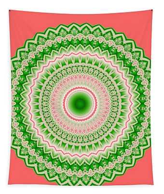 Pink And Green Mandala Fractal 002 Tapestry