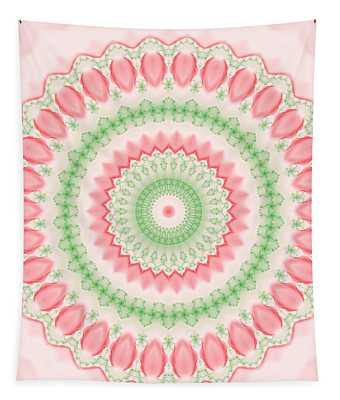 Pink And Green Mandala Fractal 003 Tapestry