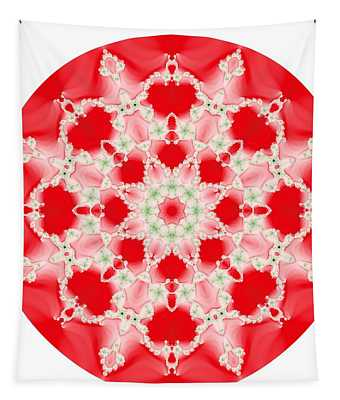 Pink And Green Watercolor Snowflake Fractal Tapestry