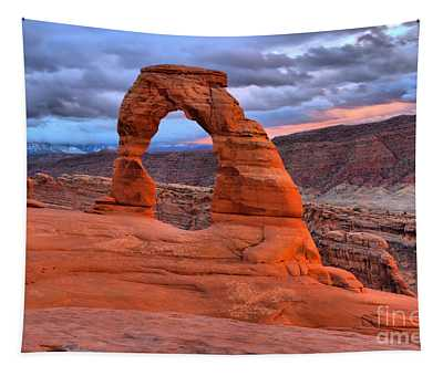 Pink And Orange At Delicate Arch Tapestry
