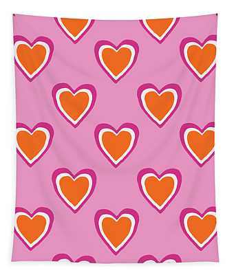 Pink And Orange Hearts- Art By Linda Woods Tapestry