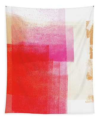 Pink And Red Minimal 2- Abstract Art By Linda Woods Tapestry