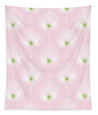 Pink And White Palm Leaves- Art By Linda Woods Tapestry