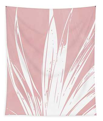 Pink And White Tropical Leaf- Art By Linda Woods Tapestry