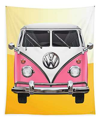 Pink And White Volkswagen T 1 Samba Bus On Yellow Tapestry