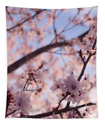 Pink Cherry Blossoms Tapestry