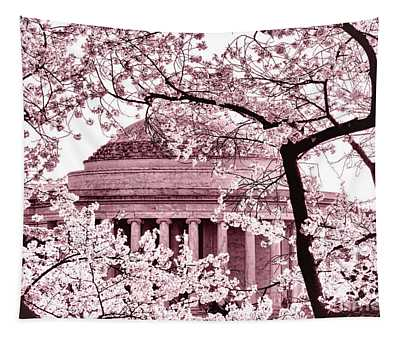 Pink Cherry Trees At The Jefferson Memorial Tapestry