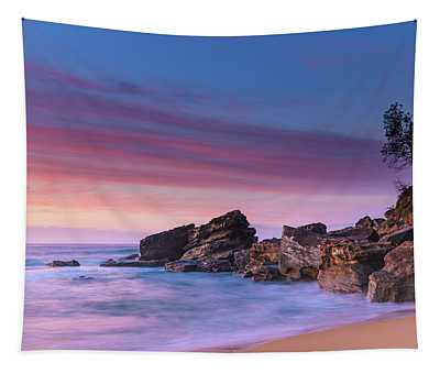 Pink Clouds And Rocky Headland Seascape Tapestry