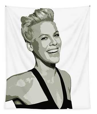 Pink Cutout Art Tapestry