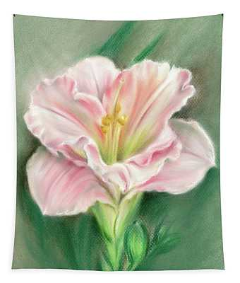 Pink Daylily And Green Buds Tapestry
