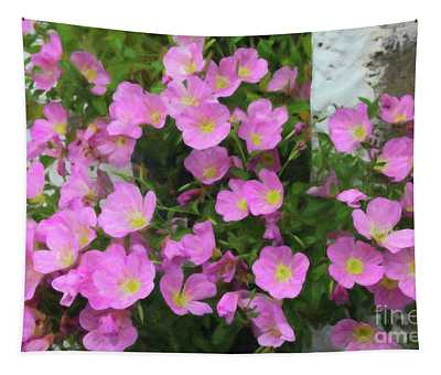 Pink Flowers Greece Tapestry