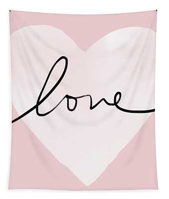 Pink Heart Love- Art By Linda Woods Tapestry