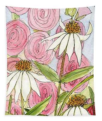 Pink Hollyhock And White Coneflowers Tapestry