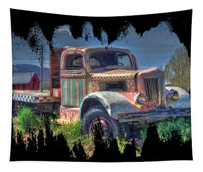 Classic Flatbed Truck In Pink Tapestry
