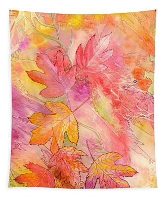 Pink Leaves Tapestry