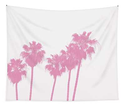 Pink Palm Trees- Art By Linda Woods Tapestry