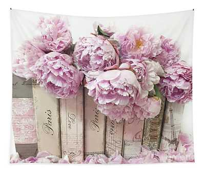 Pink Peonies Paris Books Romantic Shabby Chic Wall Art Home Decor Tapestry