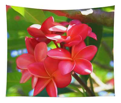 Pink Plumeria Glow Tapestry