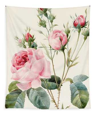 Pink Rose And Buds Tapestry