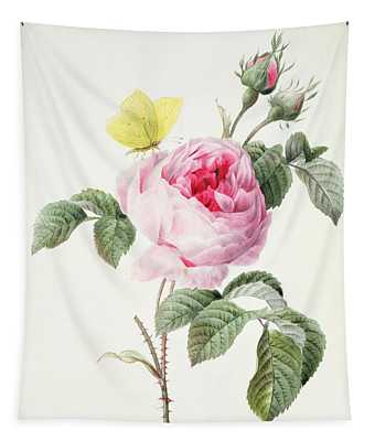 Pink Rose With Buds And A Brimstone Butterfly Tapestry