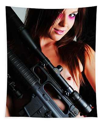 Pink Sniper Tapestry