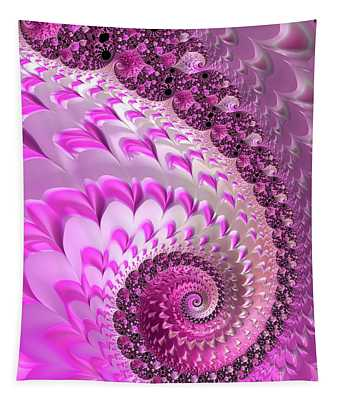 Pink Spiral With Lovely Hearts Tapestry