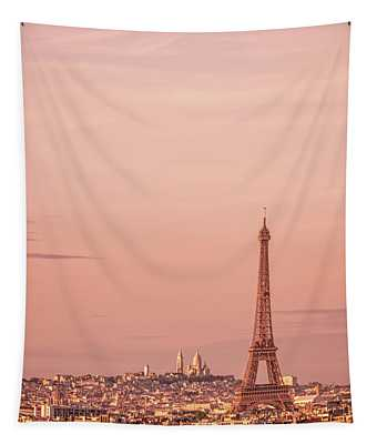 Pink Sunset In Paris Tapestry