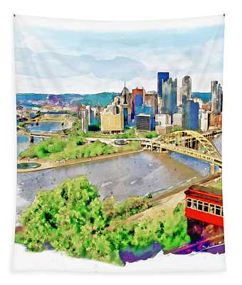 Pittsburgh Aerial View Tapestry
