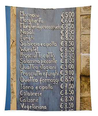 Pizza Menu Florence Italy Tapestry