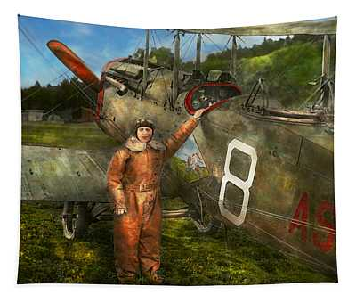 Plane - First One-stop Flight Across The Us - 1921 Tapestry