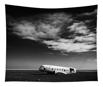 Tapestry featuring the photograph Plane Wreck Black And White Iceland by Matthias Hauser