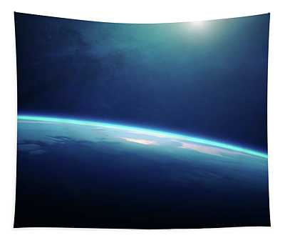 Planet Earth Sunrise From Space Tapestry