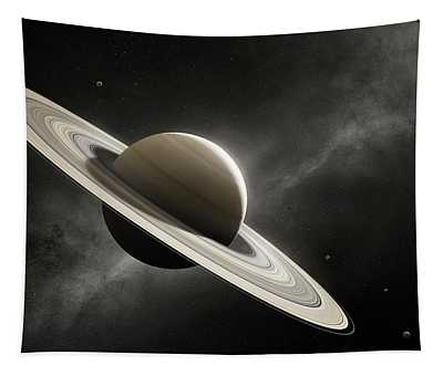 Planet Saturn With Major Moons Tapestry
