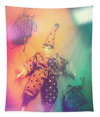 Play Act Of A Puppet Clown Performing A Sad Mime Tapestry