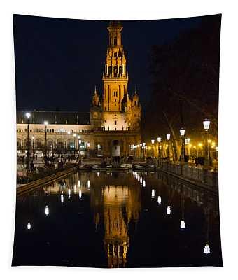 Plaza De Espana At Night - Seville 6 Tapestry