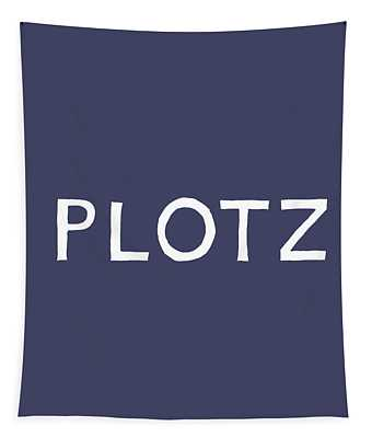 Plotz In Navy And White- Art By Linda Woods Tapestry