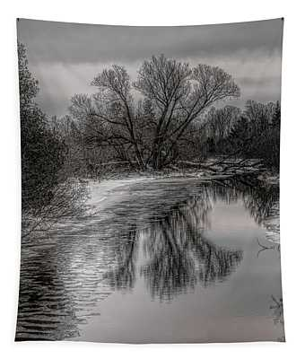 Plover River Black And White Winter Reflections Tapestry