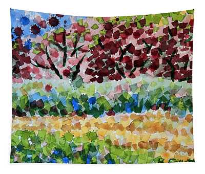 Plum Trees In Spring Tapestry