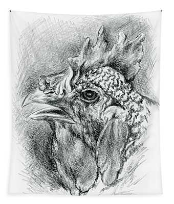 Plymouth Barred Rock Hen In Charcoal Tapestry