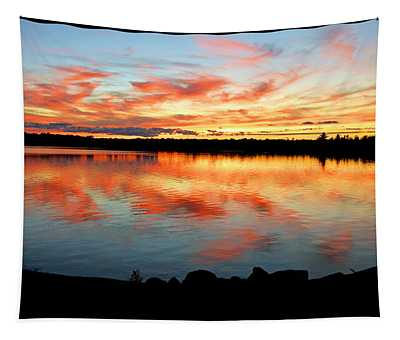 Pocono Mountain Pennsylvania Sunset Over A Lake Tapestry