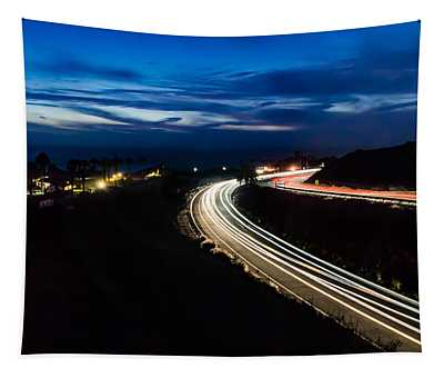 Point Vincente Light Trails Tapestry