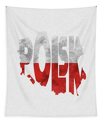 Poland Typographic Map Flag Tapestry