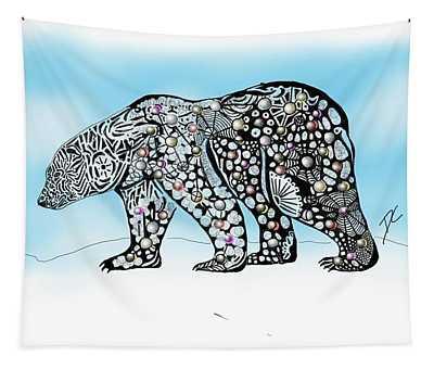 Polar Bear Doodle Tapestry