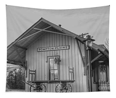 Pompton Plains Railroad Station And Baggage Cart Tapestry