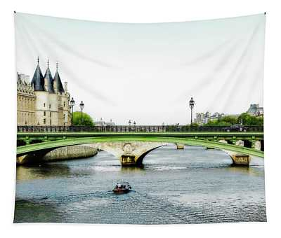 Pont Au Change Over The Seine River In Paris Tapestry