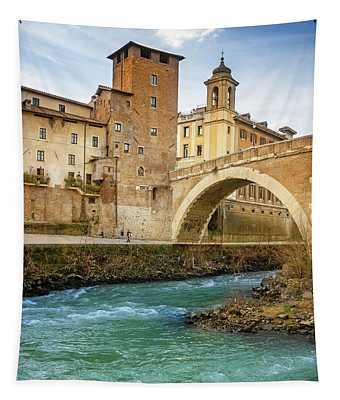 Ponte Fabricio And Tiber Island Rome Italy Tapestry