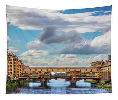Ponte Vecchio Clouds Tapestry