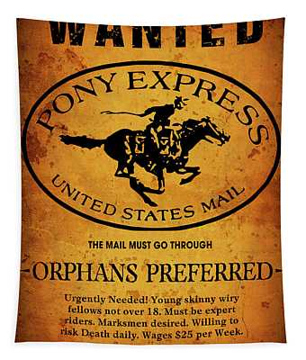 Pony Express Wanted Poster Tapestry