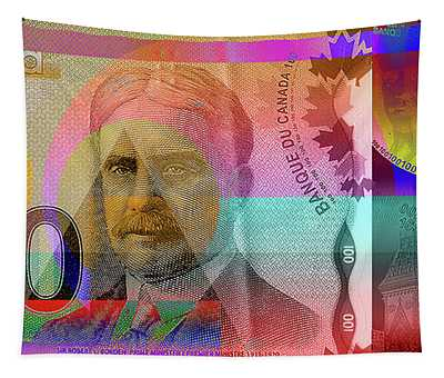 Pop-art Colorized New One Hundred Canadian Dollar Bill Tapestry