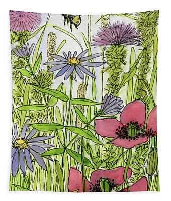 Poppies And Wildflowers Tapestry